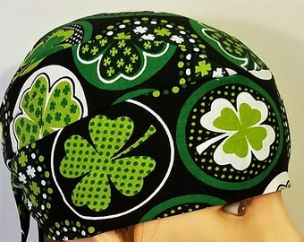 Black with Greens Shamrocks Chemo Cap, Skull Cap, Surgical Cap, Alopecia, Hair Loss, Helmet Liner, Cancer, Head Wrap, Hat,St.Patrick's Day
