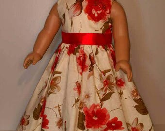 Long red summer rose print dress fits 18 inch dolls - Derbyshire dress -  run for the roses
