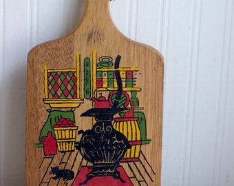 Vintage Cutting Board, Cheese Board with Folk Art, Country Rustic Kitchen Decor, Retro Kitchen,