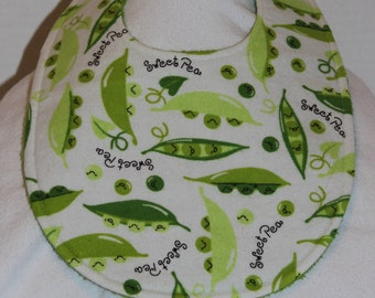 Sweet Pea Flannel / Terry Cloth Bib