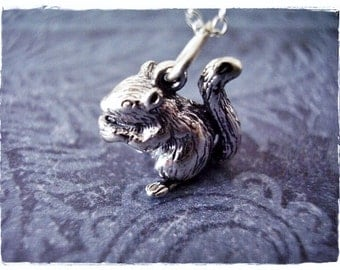Sterling Silver Squirrel Necklace - Sterling Silver Squirrel Charm on a Delicate Sterling Silver Cable Chain or Charm Only