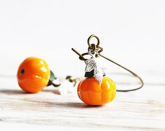 Little Pumpkin Earrings, Pumpkin Dangle Earrings on Antiqued Brass Hooks, Small Bead Earrings, Orange Dangles, Autumn Earrings, Fall Jewelry