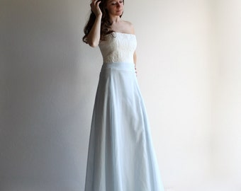Blue wedding skirt, bridal separates, long skirt, aline skirt, floor length skirt, alternative wedding dress, sky blue skirt, bridal skirt