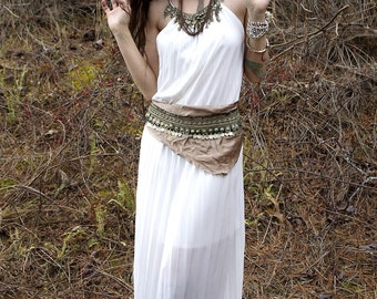 Goddess Isis Temple Dress / Wedding Dress / White Dress