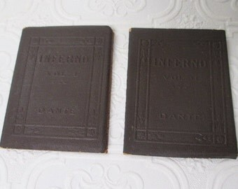 Dante's INFERNO VOLUME 1 and 2 by Dante - Miniature Books Gift Set Little Leather Library 1920s Antique Vintage Book Brown