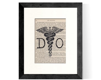 DO Doctor Of Osteopathic Art Print DO and Caduceus over Vintage Medical Book Page - Great Graduation Gift Idea for Osteopathic DOCTOR