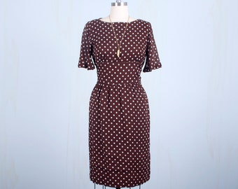 60's Brown White Polka Dot Dress, Cotton Wiggle Shift Dress Hipster Mod, Medium