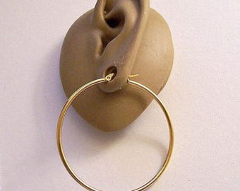 2 Inch 50mm Long Wide Gold Tone Hoop Earrings Round Extra Large Thin Tube Non Monet