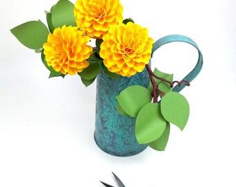 The  Full Bloom Dahlia Handmade Paper Flower  - set of 3 flowers  - Stems Included -  Custom order available