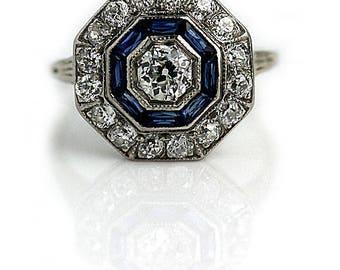 Sapphire Diamond Engagement Ring Edwardian Engagement Ring Antique Platinum Ring 1.65ctw Unique Vintage Synthetic Sapphire