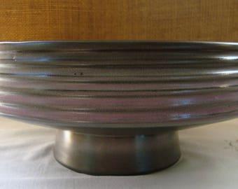 Vintage MID CENTURY MODERN Pedestal Pottery Bowl Vase Ceramic Pottery Made in Japan Black Ombre Ribbed Pedestal Pottery Fruit Bowl Art Bowl