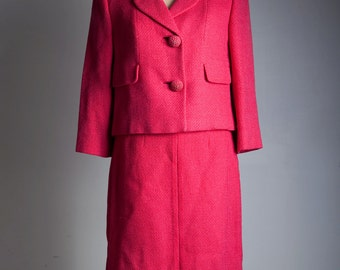 vintage 50s 1950s skirt suit pink tweed LARGE L bright colorful large textured buttons knee length