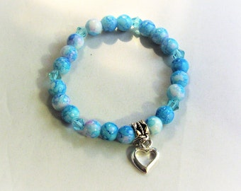 Blue with White and Purple Mixed Glass Bead and Heart Charm Stretchy Bracelet