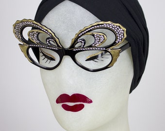 RESERVED 1950s Handmade French Lucite BUTTERFLY Eyeglasses Sunglasses w/ Gold Metal Studs & Rhinestones - Made in France - Paulette Guinet