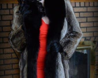 WARM Elegant Vintage Genuine Raccoon Fur Full Length Coat / Tuxedo with Genuine Black Fox Trim  / Striped Fur Coat / Small Med 6 8  MINT