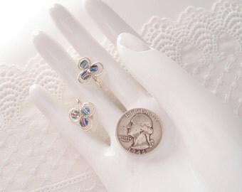 1940s Iris Glass Earrings clover rainbow crystal 835 silver screw backs