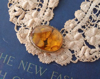 antique Edwardian Citrine Amber Glass brass Brooch Pin Czechoslovakia large faceted stone pie crust edge 1910s-20s