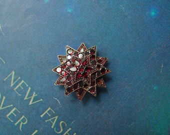 R E S E R V E D : antique Garnet Star Brooch Victorian 1870s-80s large tiered celestial pin with flat table cut gemstones