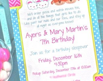Pancakes and Pajamas Birthday Party Invitations, Pajama Party, Sleepover Birthday, Slumber Party, Girls Birthday Party Invites - Set of 12