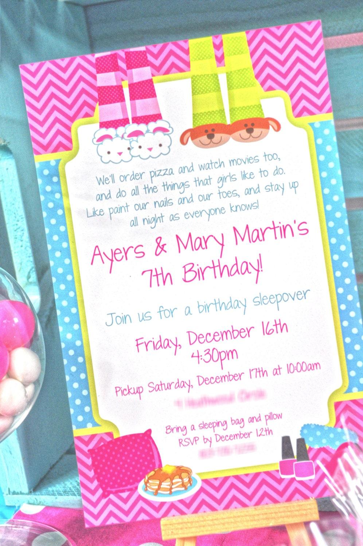 Pancakes and Pajamas Birthday Party Invitations Pajama Party