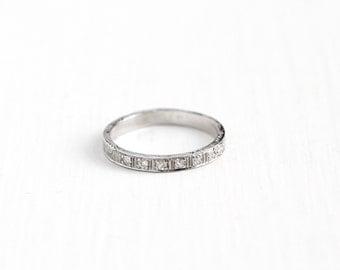Antique 18k White Gold Diamond & Orange Blossom Wedding Band Ring - Size 6 1/2 Art Deco 1920s Fine Flower Eternity Bridal Jewelry , Pat 1925