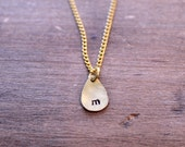 Hand Stamped Initial Necklace, Personalized Necklace, Initial Necklace, Initial Jewelry, Teardrop Necklace, Remembrance Charm Necklace