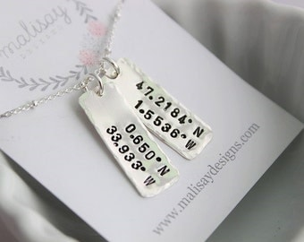 coordinates rectangles | anniversary gift for her | hand stamped sterling silver disc tag | location pendant | latitude longitude necklace