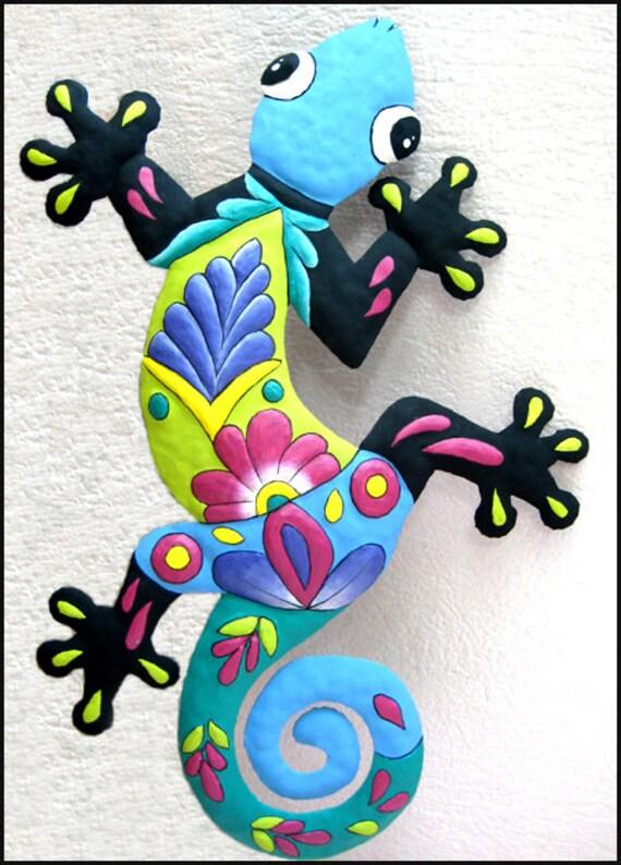 Outdoor Metal Art 24 Painted Metal Gecko Garden Art