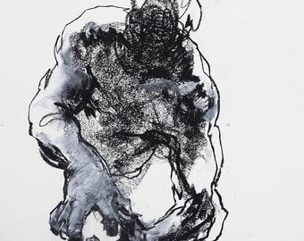 """Minimal and Expressive Figure Drawing - Figure 2 - 9 x 12"""" charcoal and conte on paper - original drawing by Derek Overfield"""