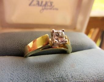 Quarter Karat Near Perfect Princess Cut Diamond Very Sturdy 18KT Gold Cathedral Setting