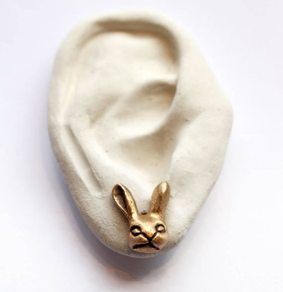 Bunny rabbit earrings in bronze with surgical steel posts
