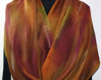 Green, Brown, Terracotta Hand Painted Silk Wool Shawl Prairie Ride. Large Warm Scarf 14x68. Silk Scarves Colorado. Elegant Silk Gift