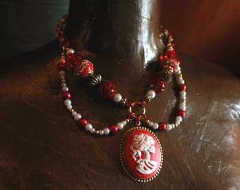 The Red Lady Returns - Byzantine Chainmail and Bead Necklace