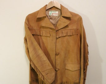 Jacket FRINGE suede western buckskin cowboy tan coat unisex Tregos M