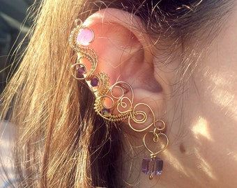 Bendy Golden Heart in Purple and Pink Ear Cuff