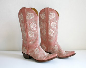 Pink Embroidered Boots 9