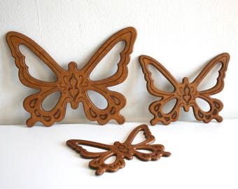 SALE Wooden Butterfly Trio