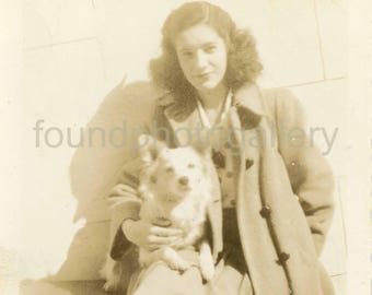 Vintage Photo, Young Woman  in a Winter Coat Holding a White Dog in Her Lap, Black & White Photo, Found Photo, Old Photo, Snapshot