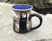 Monsters in the Clouds Mug - stoneware ceramic handmade coffee cup funny gift