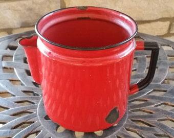 Vintage red enamelware metal teapot or coffee pot, rustic Christmas decor piece