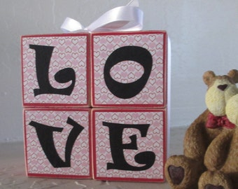 LOVE Wooden Stacked Blocks - Valentines Day Holiday Decoration