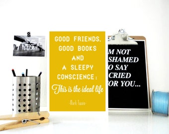 Art Print Good Friends Good Books, Marc Twain Quote, Book Quote, Literary Print, Library Decor, Gift for Book Lover, Book Worm Gift Wall Art