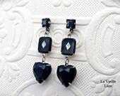 Jet Heart Earrings, Victorian Earrings, Jet Jewel Earrings in Silver, Victorian Mourning Jewelry, Gothic Valentine