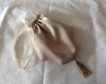 Regency Reticule,Bag. Victorian. Jane Austen. Beige Faux Silk.