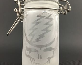 Stealie Glass Jar // Airtight Glass Lid w/ Clasp