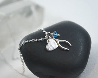 Silver Heart, Wishbone + Birthstone personalised custom necklace. Sterling silver 925 Necklace for girls / women / wife / girlfriend. Sweet.