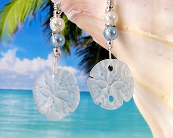 White sand dollar seaglass beads blue pearls wire wrapped beach earrings, tumbled glass earrings
