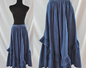 SALE Vintage Eighties Skirt - 1980s Denim Ruffle Skirt - 80's Jean Skirt - Full Circle Skirt - Square Dance Skirt - Small Denim Skirt