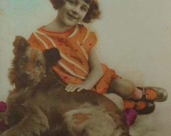Vintage French Postcard - Young Girl with a Dog