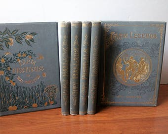 Antique Books Blue Cover Set of 6 Will Carlton Illustrated ON SALE